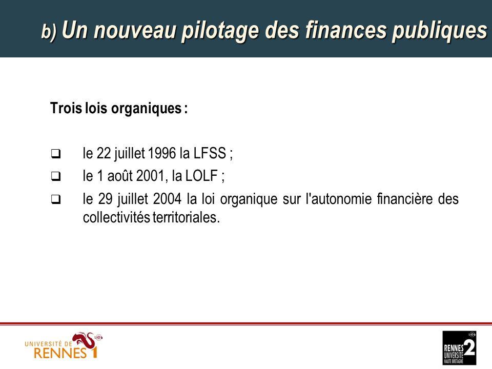 b) Un nouveau pilotage des finances publiques Trois lois organiques :  le 22 juillet 1996 la LFSS ;  le 1 août 2001, la LOLF ;  le 29 juillet 2004 la loi organique sur l autonomie financière des collectivités territoriales.