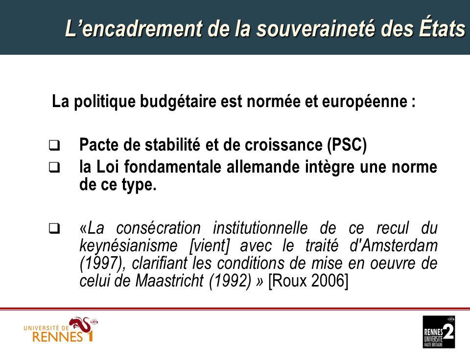 L'encadrement de la souveraineté des États La politique budgétaire est normée et européenne :  Pacte de stabilité et de croissance (PSC)  la Loi fondamentale allemande intègre une norme de ce type.