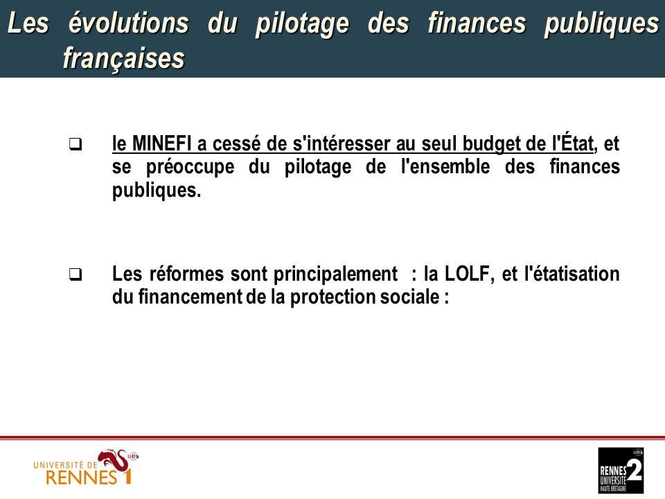 Les évolutions du pilotage des finances publiques françaises  le MINEFI a cessé de s intéresser au seul budget de l État, et se préoccupe du pilotage de l ensemble des finances publiques.