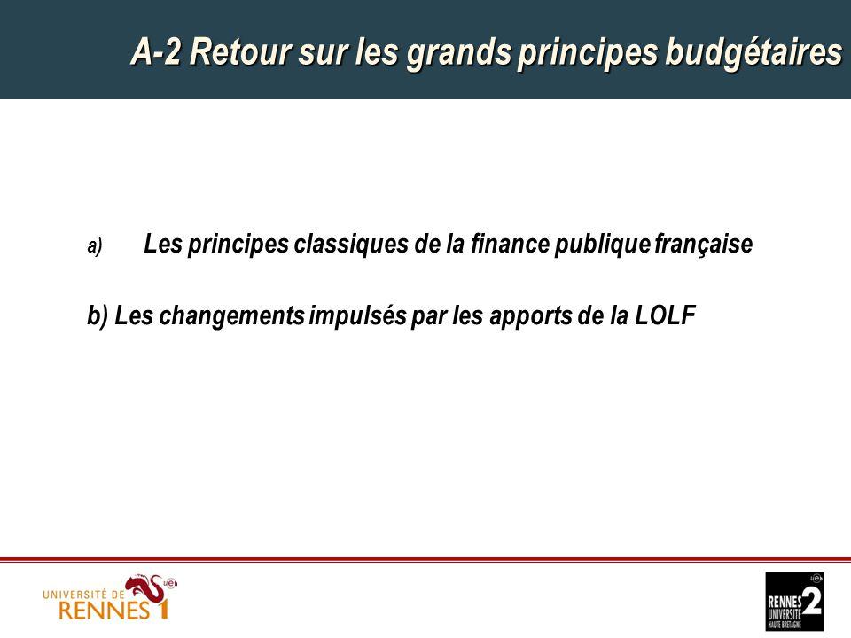 A-2 Retour sur les grands principes budgétaires a) Les principes classiques de la finance publique française b) Les changements impulsés par les apports de la LOLF