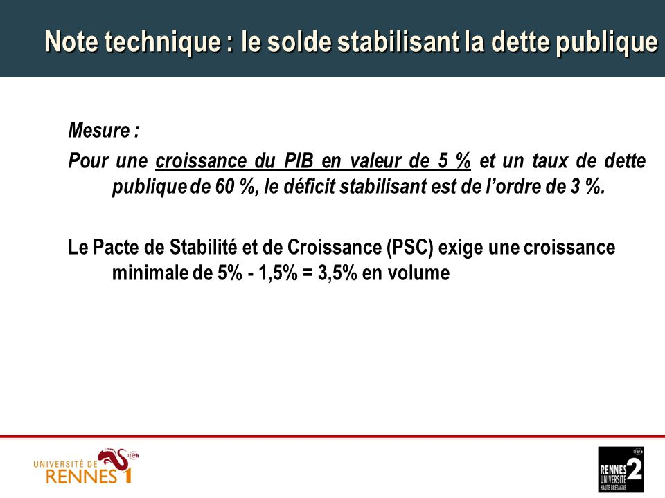 Note technique : le solde stabilisant la dette publique Mesure : Pour une croissance du PIB en valeur de 5 % et un taux de dette publique de 60 %, le déficit stabilisant est de l'ordre de 3 %.