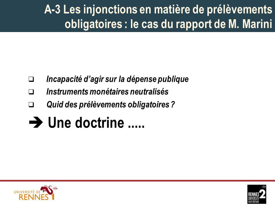 A-3 Les injonctions en matière de prélèvements obligatoires : le cas du rapport de M.