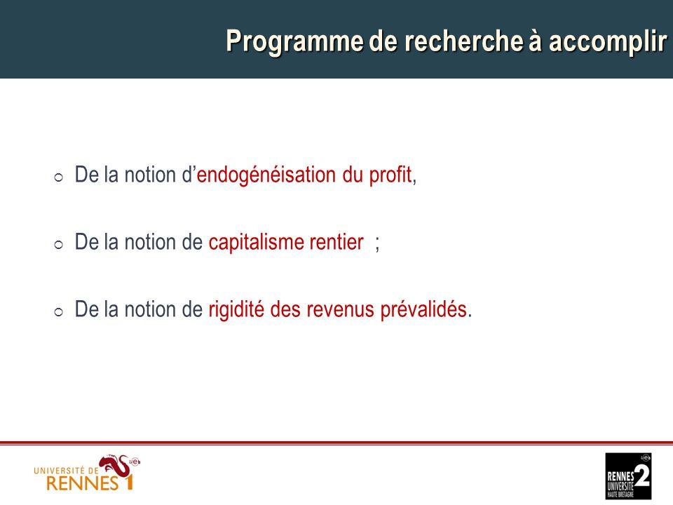 Programme de recherche à accomplir  De la notion d'endogénéisation du profit,  De la notion de capitalisme rentier ;  De la notion de rigidité des revenus prévalidés.
