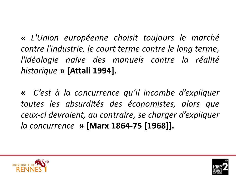 « L Union européenne choisit toujours le marché contre l industrie, le court terme contre le long terme, l idéologie naïve des manuels contre la réalité historique » [Attali 1994].
