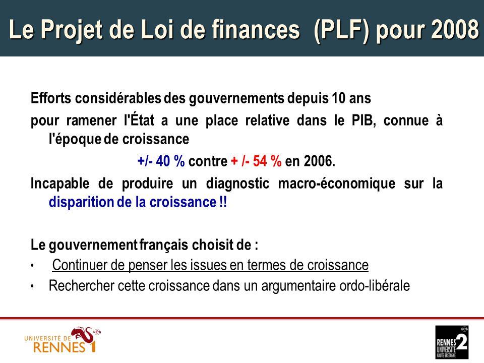 Le Projet de Loi de finances (PLF) pour 2008 Efforts considérables des gouvernements depuis 10 ans pour ramener l État a une place relative dans le PIB, connue à l époque de croissance +/- 40 % contre + /- 54 % en 2006.