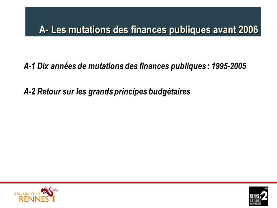 A- Les mutations des finances publiques avant 2006 A-1 Dix années de mutations des finances publiques : 1995-2005 A-2 Retour sur les grands principes budgétaires