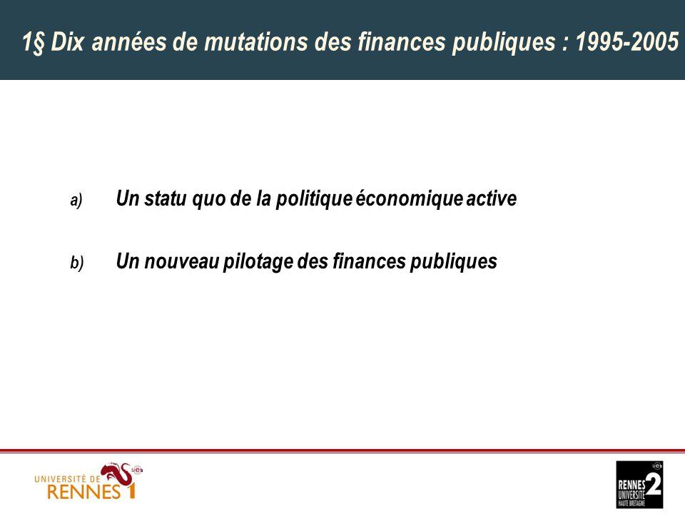 1§ Dix années de mutations des finances publiques : 1995-2005 a) Un statu quo de la politique économique active b) Un nouveau pilotage des finances publiques