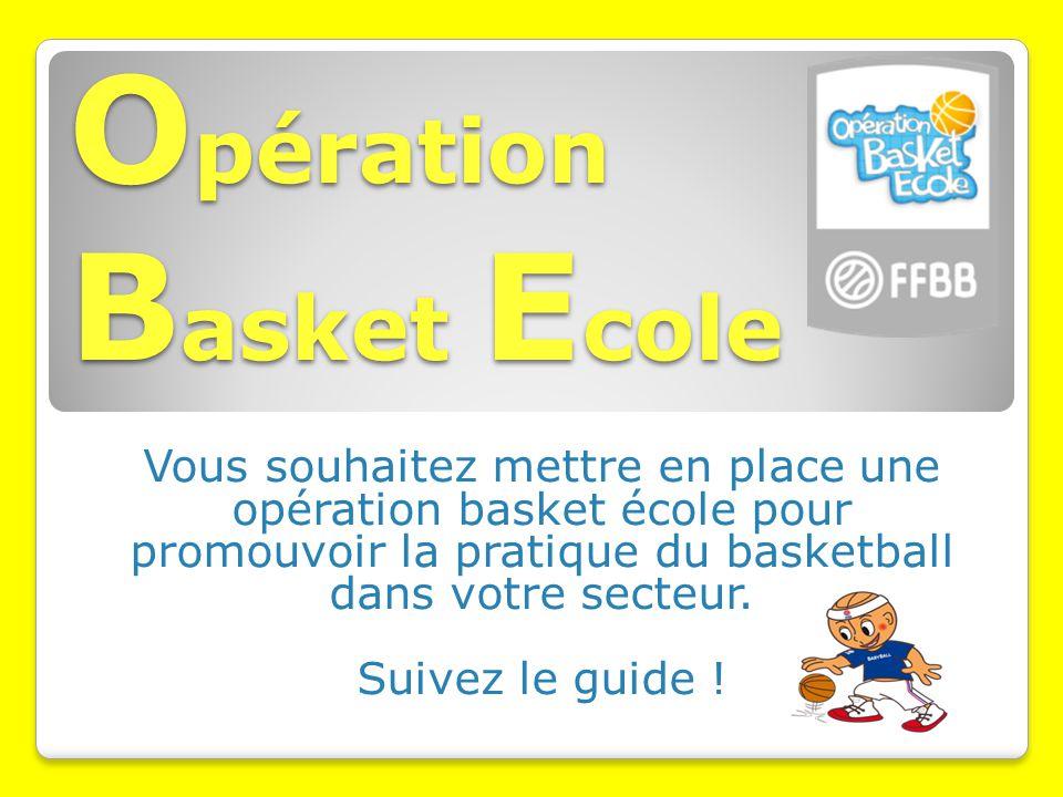 O pération B asket E cole Vous souhaitez mettre en place une opération basket école pour promouvoir la pratique du basketball dans votre secteur.