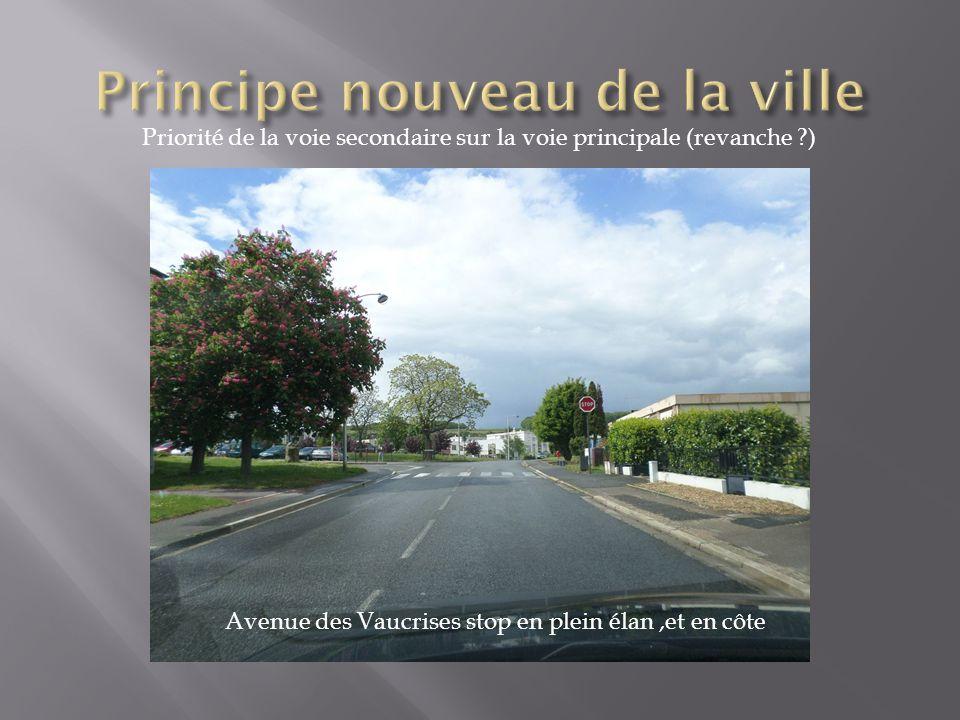 Priorité de la voie secondaire sur la voie principale (revanche ?) Avenue des Vaucrises stop en plein élan,et en côte