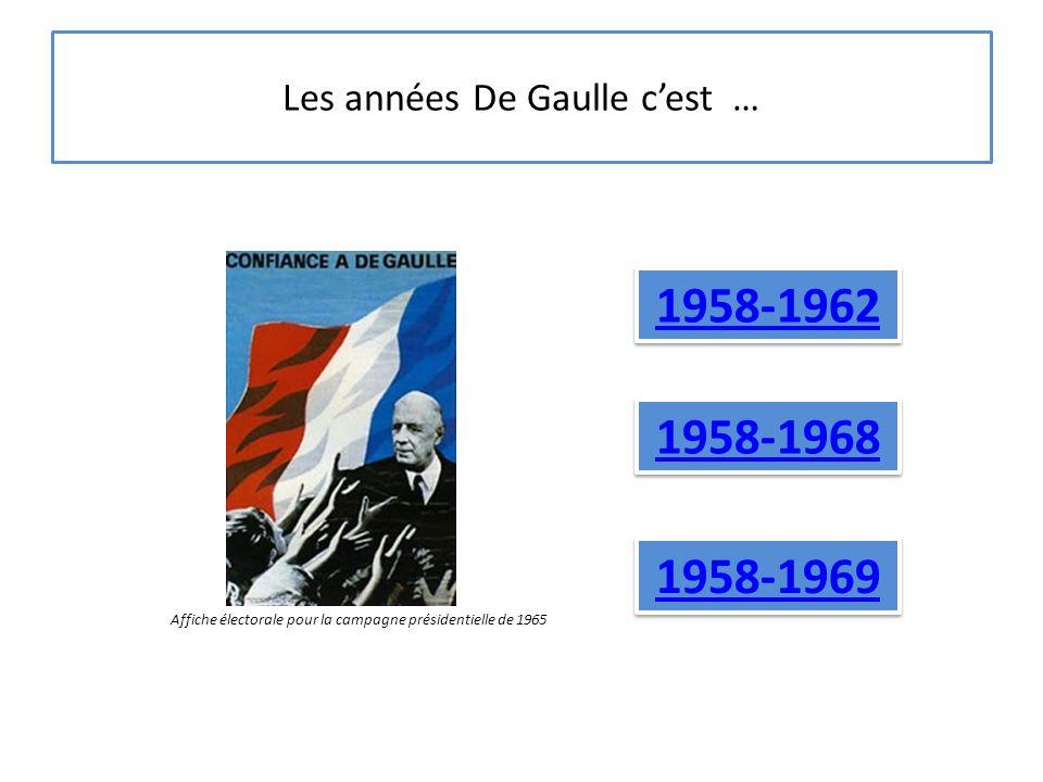 Les années De Gaulle c'est … 1958-1969 1958-1962 1958-1968 Affiche électorale pour la campagne présidentielle de 1965