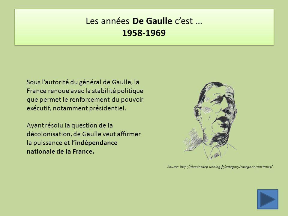 Les années De Gaulle c'est … 1958-1969 Source: http://dessinsdep.unblog.fr/category/categorie/portraits / Sous l'autorité du général de Gaulle, la France renoue avec la stabilité politique que permet le renforcement du pouvoir exécutif, notamment présidentiel.