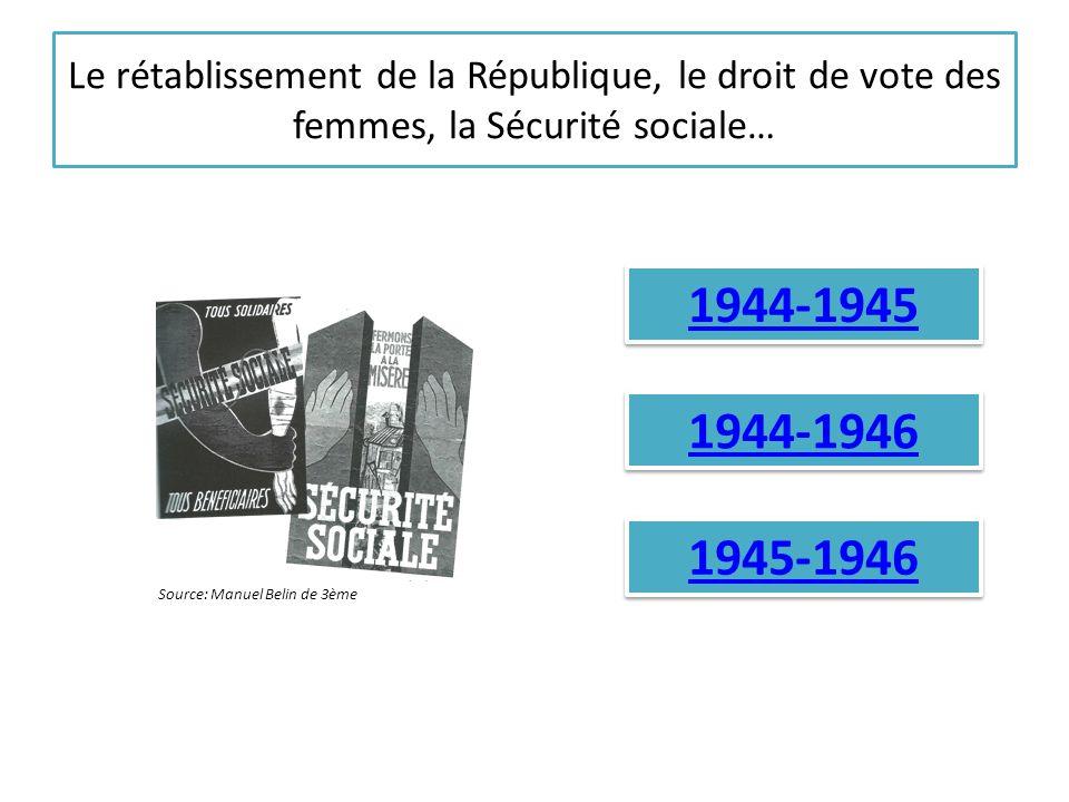 Le rétablissement de la République, le droit de vote des femmes, la Sécurité sociale… 1944-1945 1944-1946 1945-1946 Source: Manuel Belin de 3ème