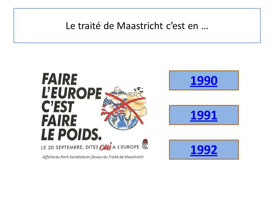 Le traité de Maastricht c'est en … 1991 1992 1990 Affiche du Parti Socialiste en faveur du Traité de Maastricht