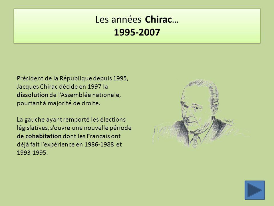 Les années Chirac… 1995-2007 Président de la République depuis 1995, Jacques Chirac décide en 1997 la dissolution de l'Assemblée nationale, pourtant à majorité de droite.