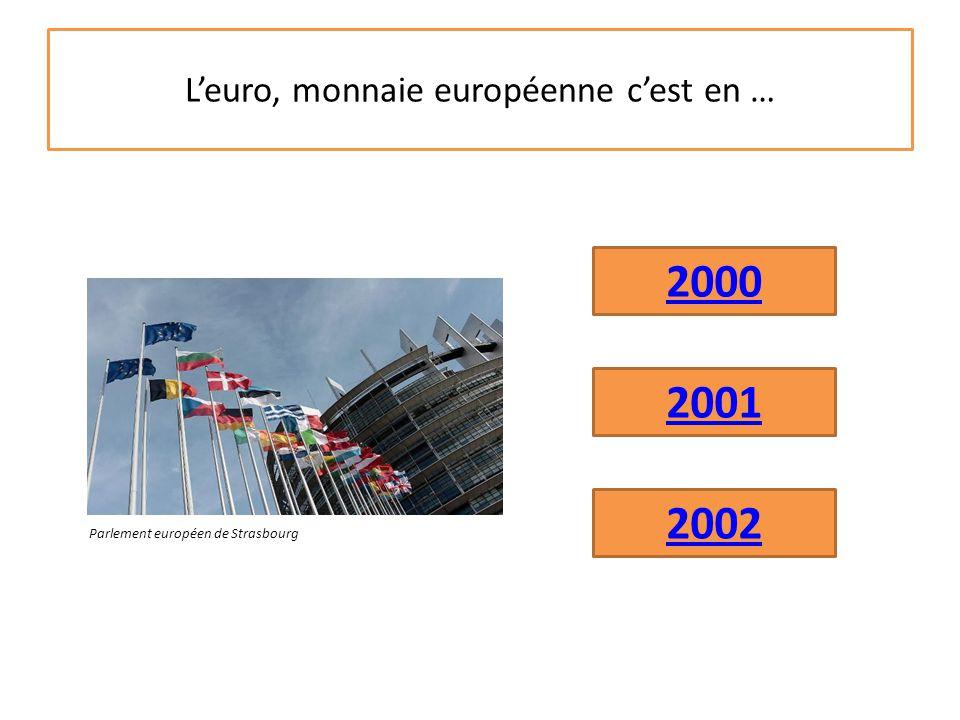 L'euro, monnaie européenne c'est en … 2001 2002 2000 Parlement européen de Strasbourg