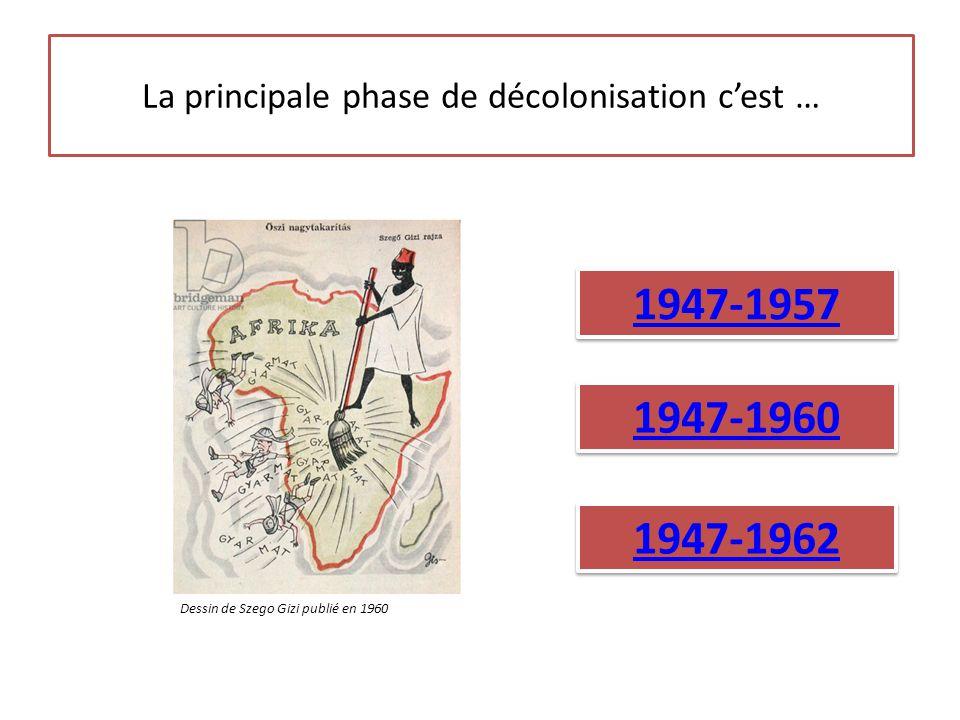 La principale phase de décolonisation c'est … 1947-1957 1947-1960 1947-1962 Dessin de Szego Gizi publié en 1960