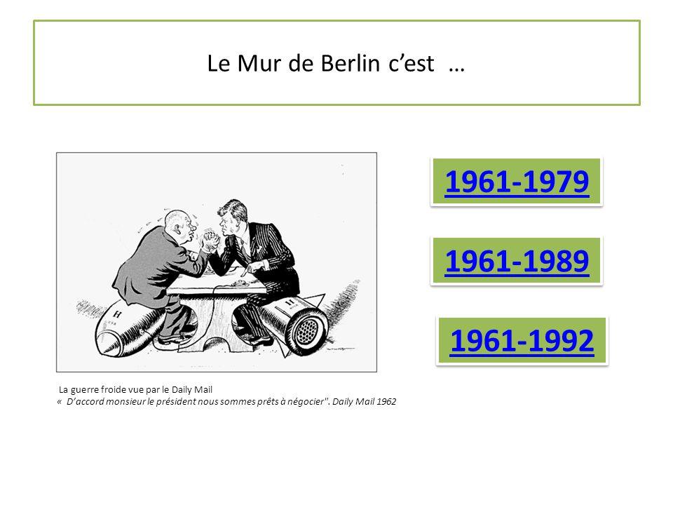 Le Mur de Berlin c'est … 1961-1979 1961-1989 1961-1992 La guerre froide vue par le Daily Mail « D'accord monsieur le président nous sommes prêts à négocier .