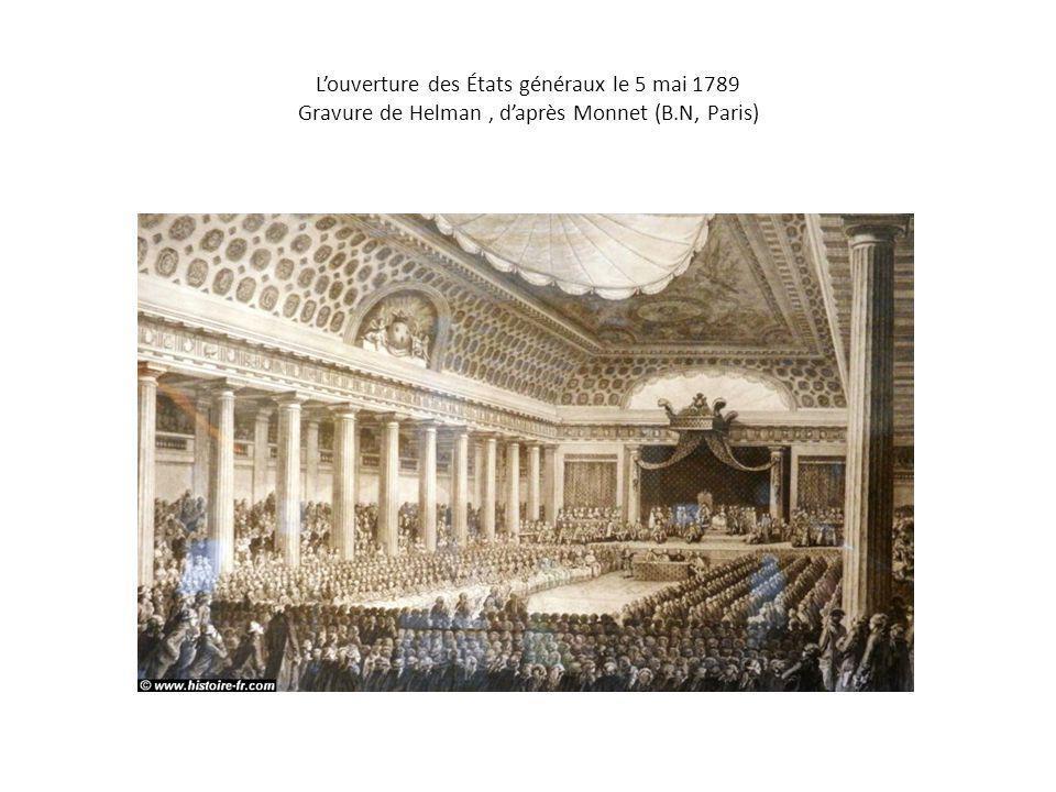 L'ouverture des États généraux le 5 mai 1789 Gravure de Helman, d'après Monnet (B.N, Paris)