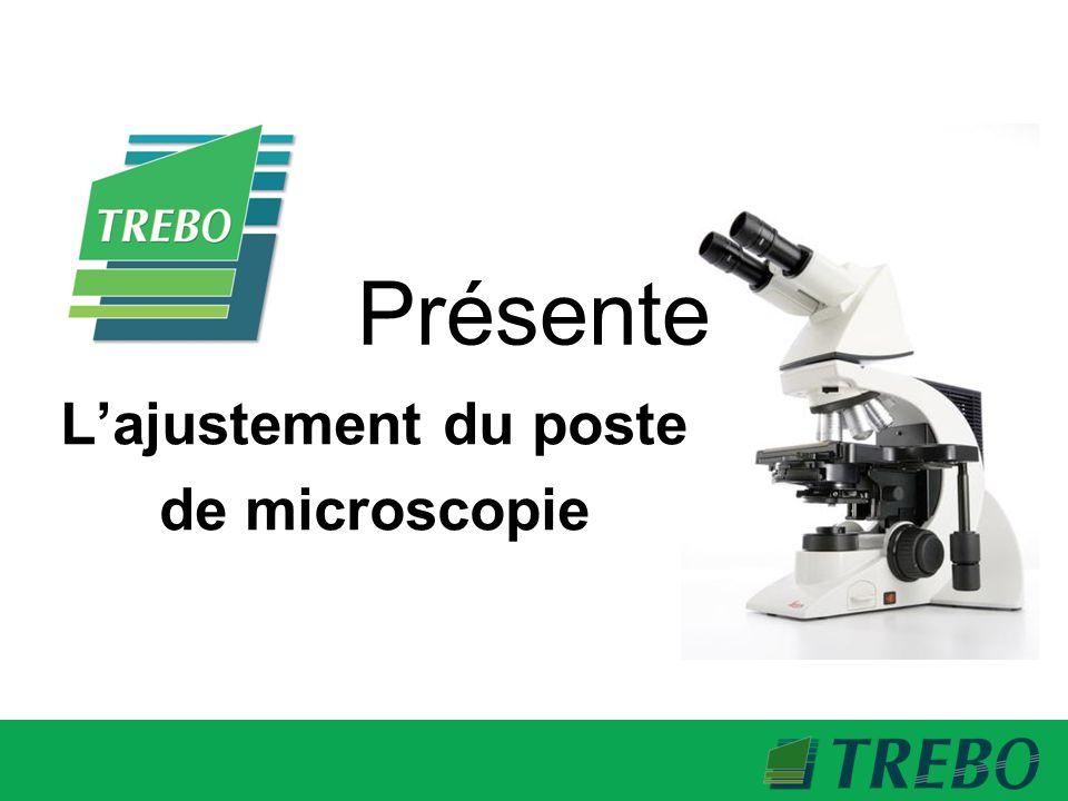 En 5 étapes 1- Ajustement du siège 2- Ajustement de la hauteur du poste 3- Ajustement du microscope 4- Ajustement des appuis-bras 5- Entretien du mécanisme
