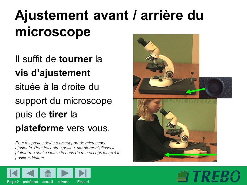 Ajustement avant / arrière du microscope Il suffit de tourner la vis d'ajustement située à la droite du support du microscope puis de tirer la plateforme vers vous.