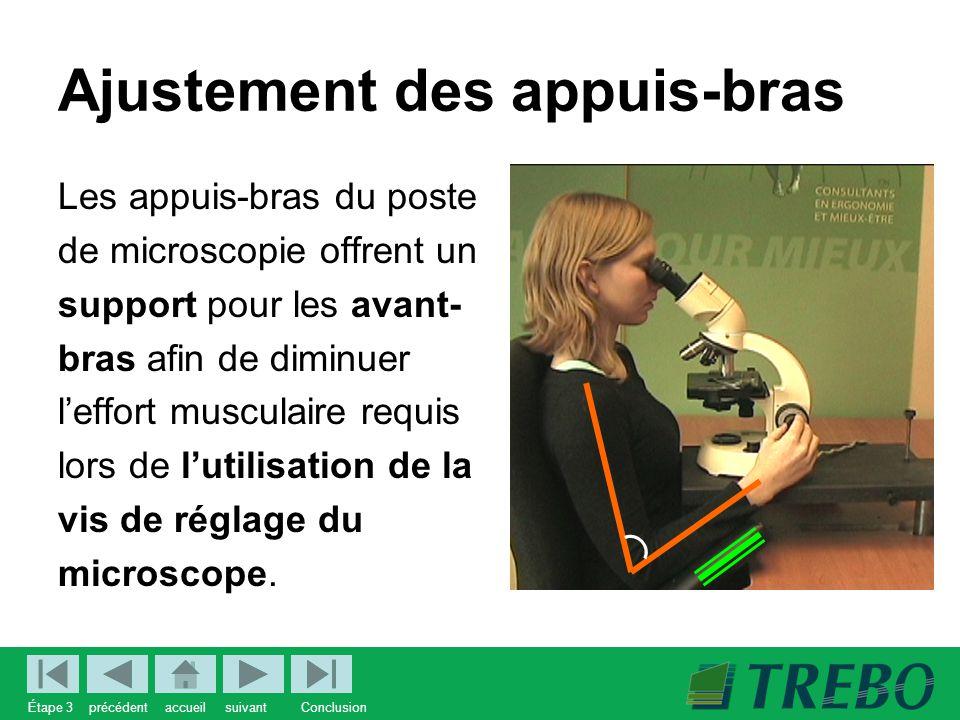 Ajustement des appuis-bras Les appuis-bras du poste de microscopie offrent un support pour les avant- bras afin de diminuer l'effort musculaire requis lors de l'utilisation de la vis de réglage du microscope.