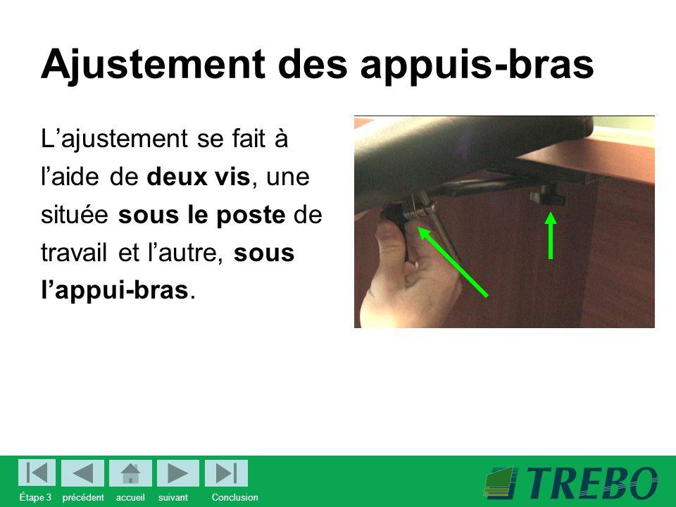 Ajustement des appuis-bras L'ajustement se fait à l'aide de deux vis, une située sous le poste de travail et l'autre, sous l'appui-bras.