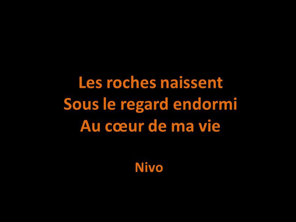 Les roches naissent Sous le regard endormi Au cœur de ma vie Nivo