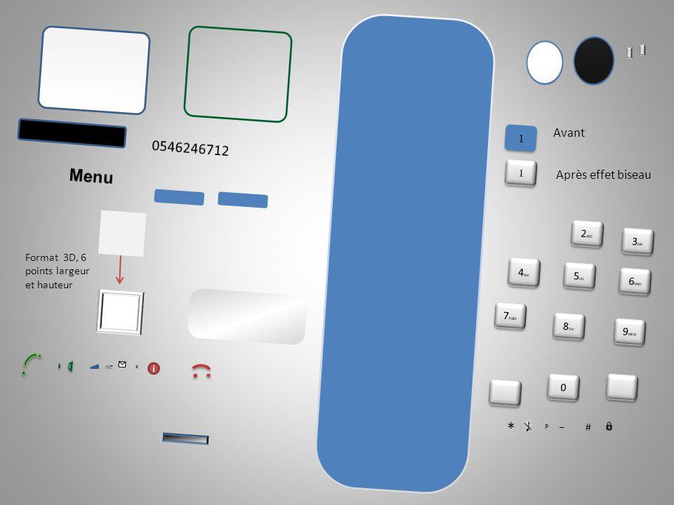 Formes utilisées : rectangles (ou carrés) bords arrondis et ronds, sauf pour les petits téléphones et le haut parleur.