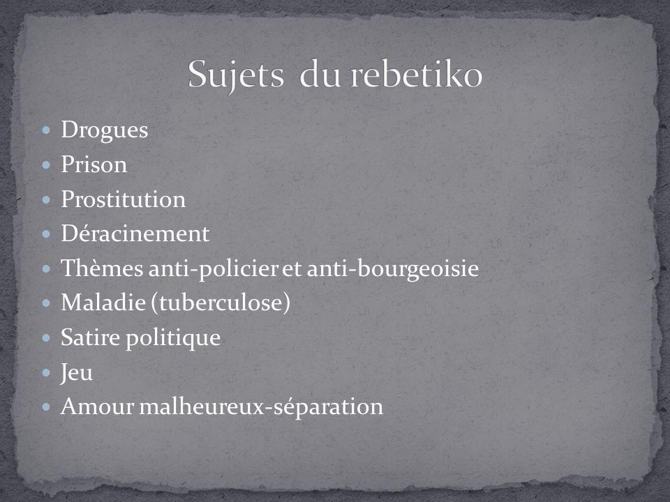 Drogues Prison Prostitution Déracinement Thèmes anti-policier et anti-bourgeoisie Maladie (tuberculose) Satire politique Jeu Amour malheureux-séparation