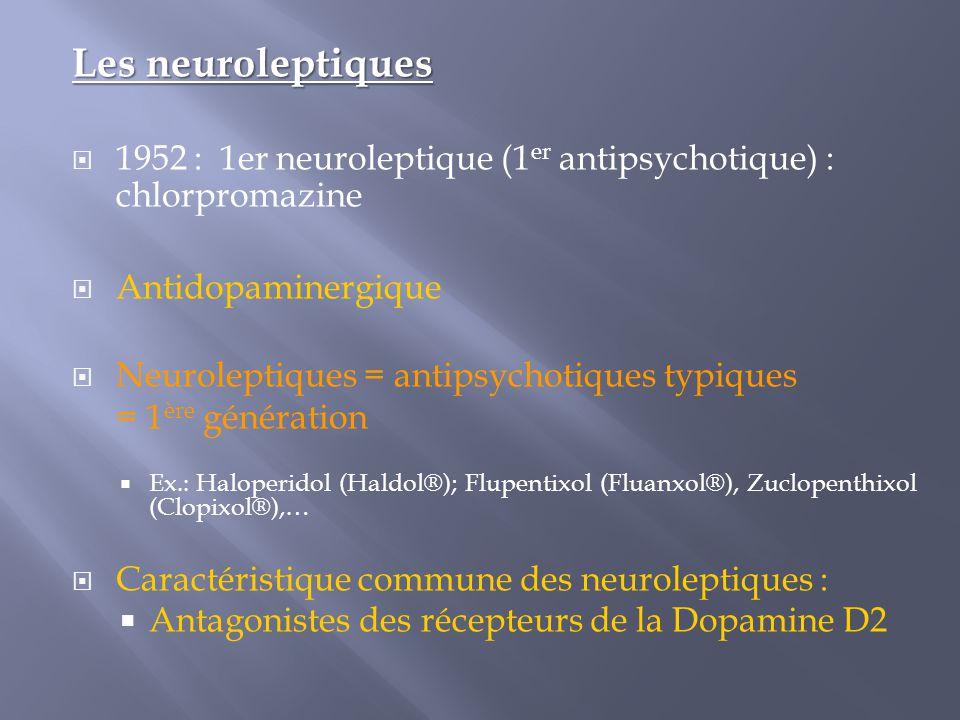 Les neuroleptiques  1952 : 1er neuroleptique (1 er antipsychotique) : chlorpromazine  Antidopaminergique  Neuroleptiques = antipsychotiques typique