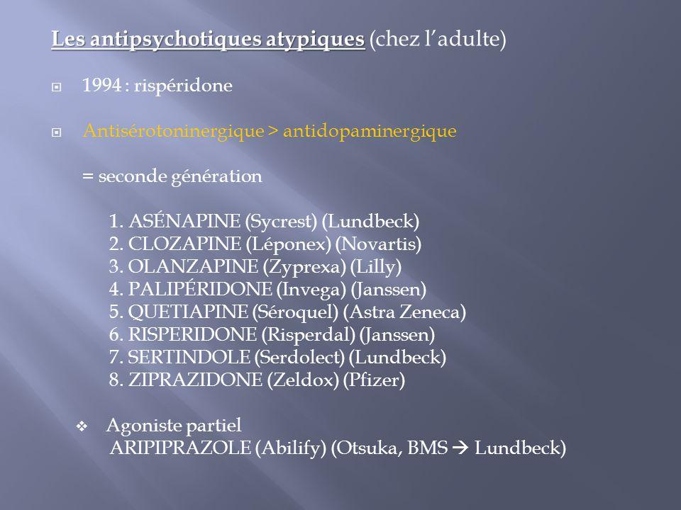 Les antipsychotiques atypiques Les antipsychotiques atypiques (chez l'adulte)  1994 : rispéridone  Antisérotoninergique > antidopaminergique = secon