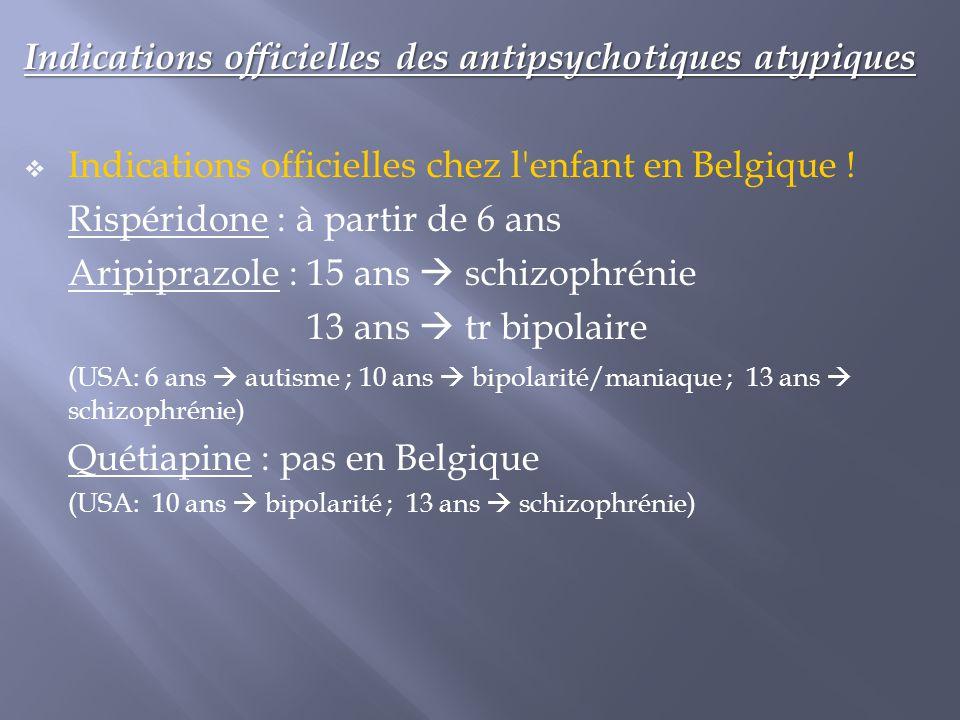 Indications officielles des antipsychotiques atypiques  Indications officielles chez l'enfant en Belgique ! Rispéridone : à partir de 6 ans Aripipraz