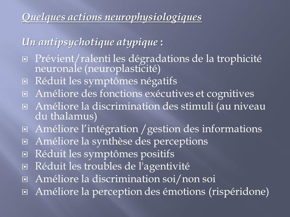 Quelques actions neurophysiologiques Un antipsychotique atypique :  Prévient/ralenti les dégradations de la trophicité neuronale (neuroplasticité) 