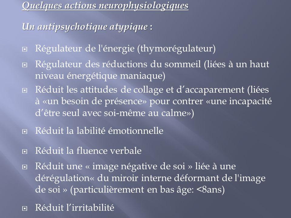 Quelques actions neurophysiologiques Un antipsychotique atypique :  Régulateur de l'énergie (thymorégulateur)  Régulateur des réductions du sommeil