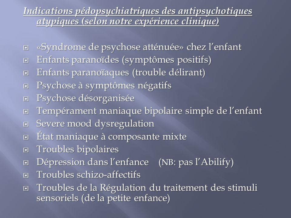 Indications pédopsychiatriques des antipsychotiques atypiques (selon notre expérience clinique)  «Syndrome de psychose atténuée» chez l'enfant  Enfa