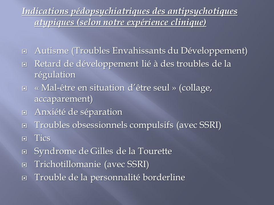 Indications pédopsychiatriques des antipsychotiques atypiques (selon notre expérience clinique)  Autisme (Troubles Envahissants du Développement)  R