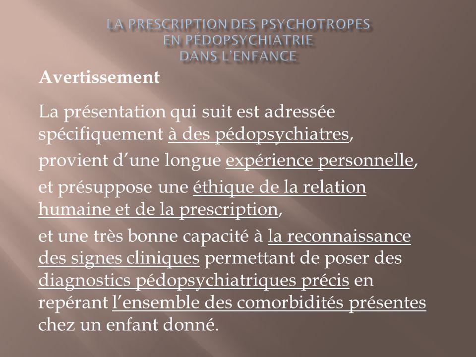 Avertissement La présentation qui suit est adressée spécifiquement à des pédopsychiatres, provient d'une longue expérience personnelle, et présuppose