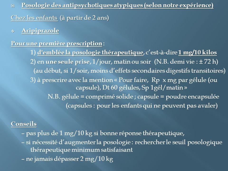  Posologie des antipsychotiques atypiques (selon notre expérience) Chez les enfants (à partir de 2 ans)  Aripiprazole Pour une première prescription