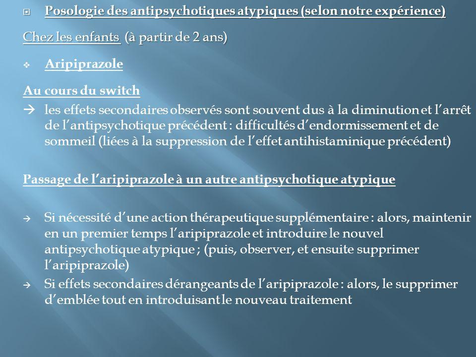  Posologie des antipsychotiques atypiques (selon notre expérience) Chez les enfants (à partir de 2 ans)  Aripiprazole Au cours du switch  les effet
