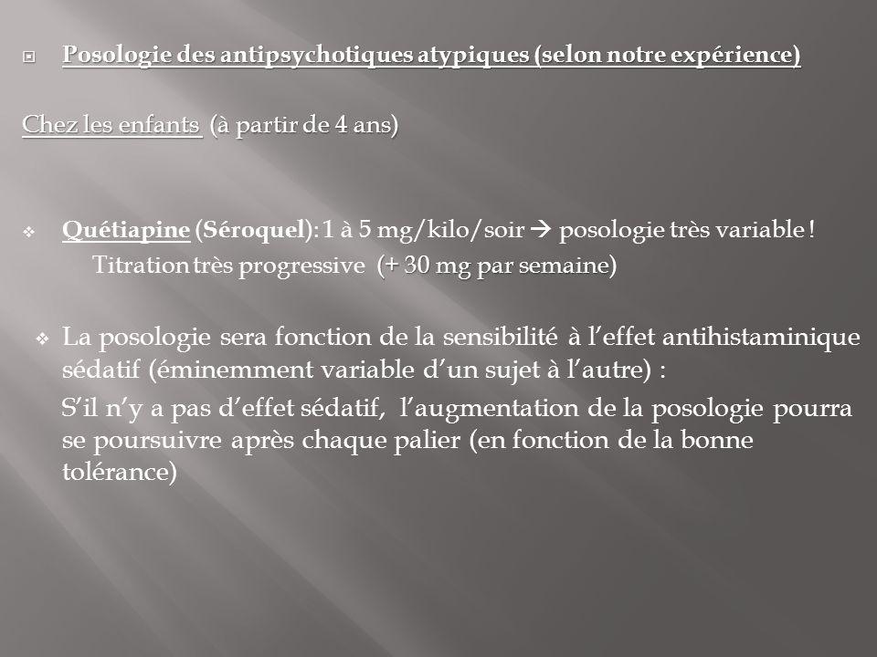  Posologie des antipsychotiques atypiques (selon notre expérience) Chez les enfants (à partir de 4 ans)  Quétiapine ( Séroquel ): 1 à 5 mg/kilo/soir