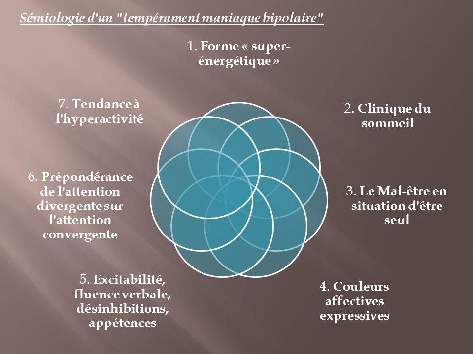 1. Forme « super- énergétique » 2. Clinique du sommeil 3. Le Mal-être en situation d'être seul 4. Couleurs affectives expressives 5. Excitabilité, flu
