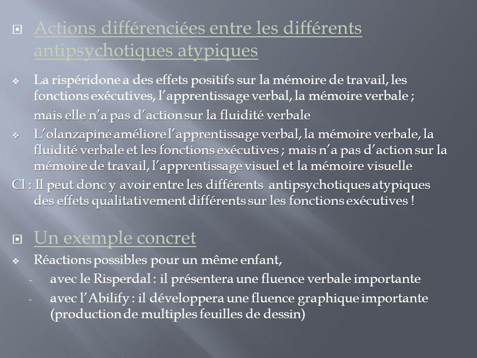  Actions différenciées entre les différents antipsychotiques atypiques  La rispéridone a des effets positifs sur la mémoire de travail, les fonction