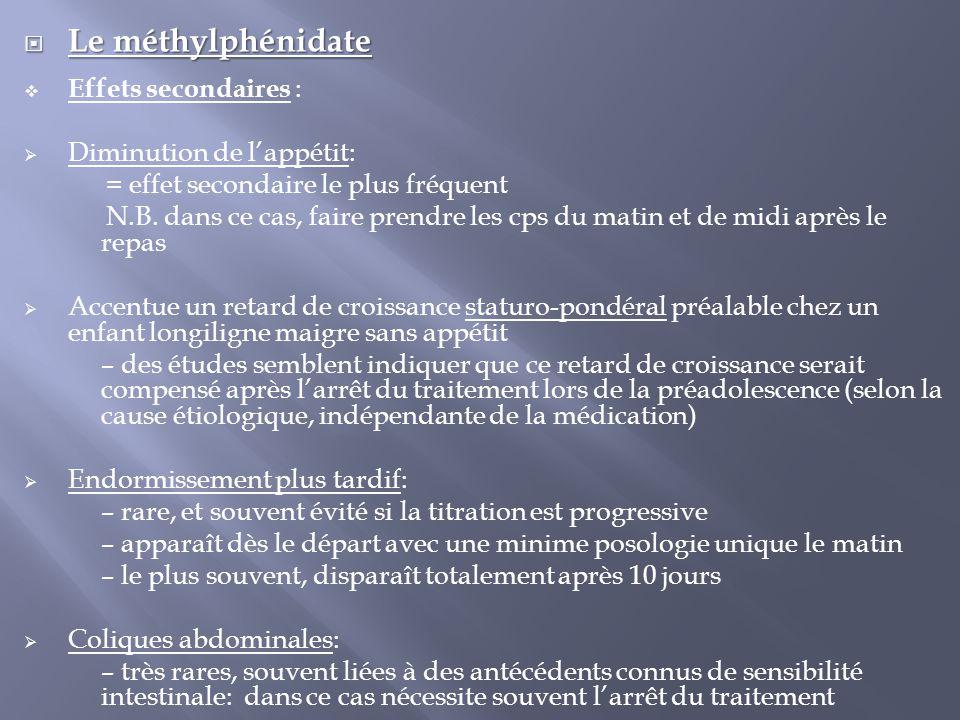  Le méthylphénidate  Effets secondaires :  Diminution de l'appétit: = effet secondaire le plus fréquent N.B. dans ce cas, faire prendre les cps du