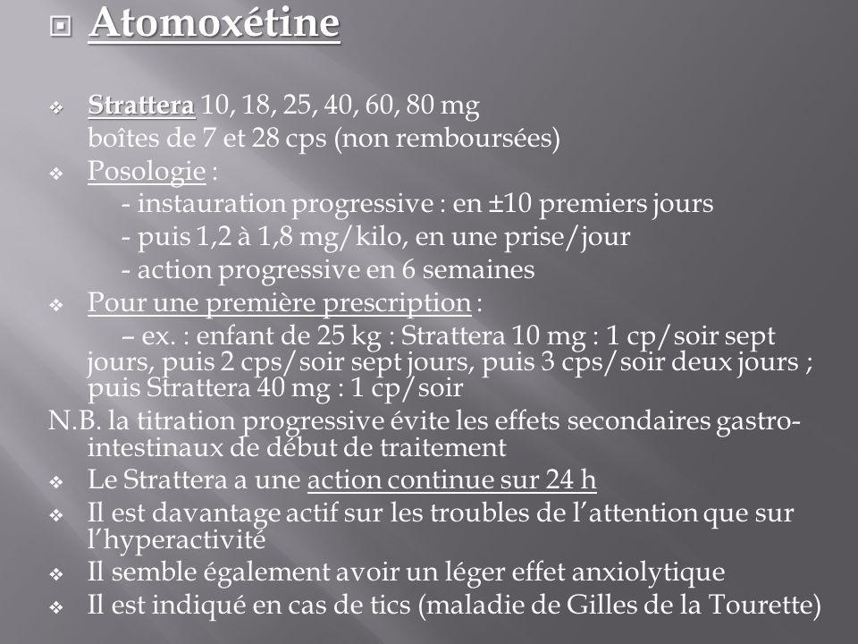  Atomoxétine  Strattera  Strattera 10, 18, 25, 40, 60, 80 mg boîtes de 7 et 28 cps (non remboursées)  Posologie : - instauration progressive : en