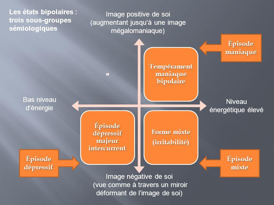 Tempérament maniaque bipolaire Épisode dépressif majeur intercurrent Forme mixte (irritabilité) Image négative de soi (vue comme à travers un miroir d