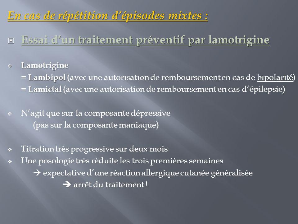 En cas de répétition d'épisodes mixtes :  Essai d'un traitement préventif par lamotrigine  Lamotrigine Lambipol = Lambipol (avec une autorisation de