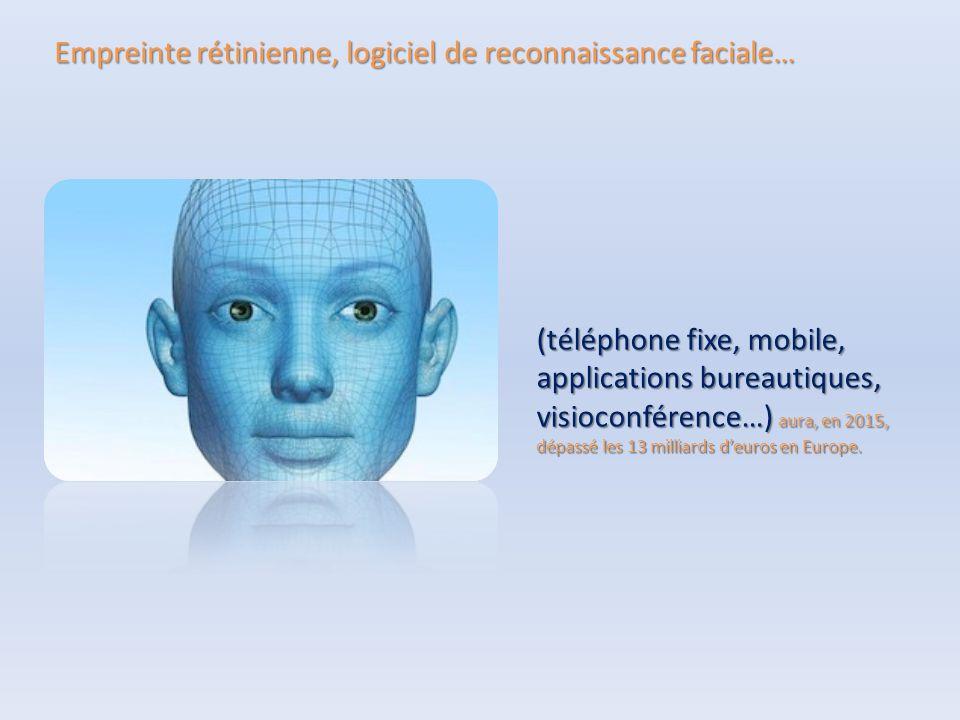 Empreinte rétinienne, logiciel de reconnaissance faciale… (téléphone fixe, mobile, applications bureautiques, visioconférence…) aura, en 2015, dépassé les 13 milliards d'euros en Europe.