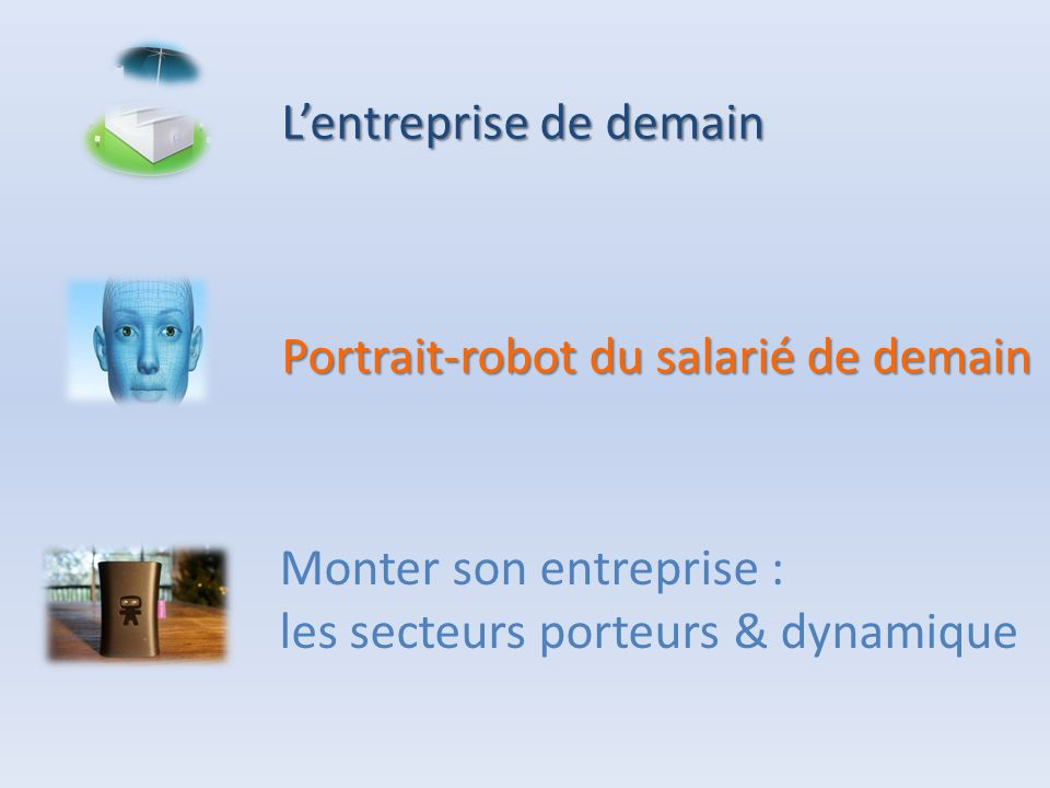 L'entreprise de demain Portrait-robot du salarié de demain Monter son entreprise : les secteurs porteurs & dynamique