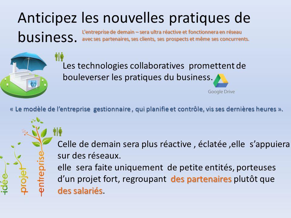 Anticipez les nouvelles pratiques de business. L'entreprise de demain – sera ultra réactive et fonctionnera en réseau avec ses partenaires, ses client