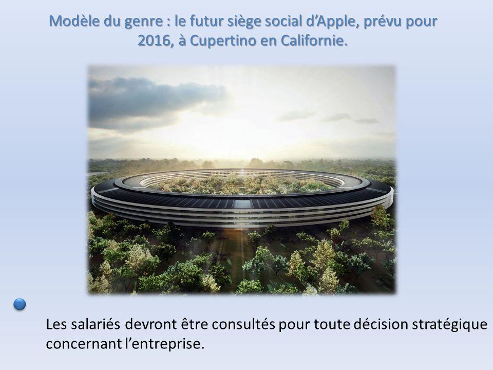 Modèle du genre : le futur siège social d'Apple, prévu pour 2016, à Cupertino en Californie. Les salariés devront être consultés pour toute décision s